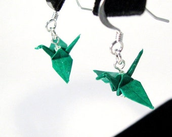 "Winter Sale Origami Crane earrings Miniature 3/4""   - Emerald Green Paper Crane Earrings Solid Color"
