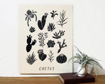Cactus Chart | Succulent Print | Botanical Art | Black and White