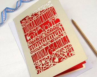 Personalised Papercut Engagement Card, Floral Engagement Congratulations Laser Cut, sku_floral_engagement