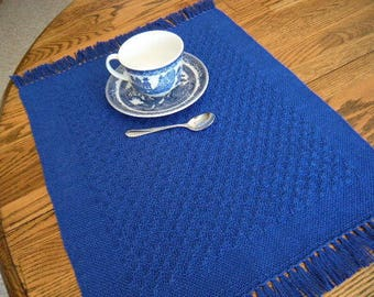 Placemats Handwoven, Individual Placemats, Loom Woven Placemats, Table Mat, Table Linens, Cobalt Blue Placemat, Handwoven Textile, Handmade