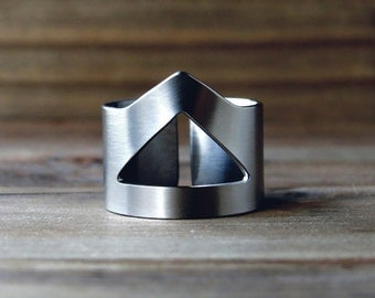 Triangle ring / geometric ring / edgy ring / cuff ring / stainless steel ring