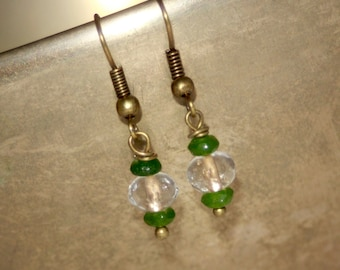 Traces of gold green aventurine gemstone faceted  earrings
