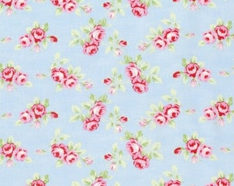 Rambling Rose - Blue Rosebuds by Tanya Whelan for Freespirit Fabrics
