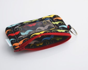 Mustache Wallet, Keychain ID Wallet, Minimalist Wallet, Handmade Wallet, Zookaboo