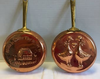 Vintage Set of 2 Decorative Copper Brass Hanging Pans