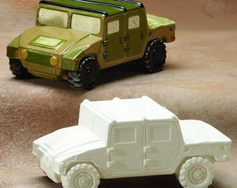 Ready to Paint Humvee Military Vehicle - Ceramic Bisque Supplies - Unfinished - Birthday Party Craft
