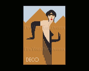 Art Deco Woman, Art Deco, Art Deco Cross Stitch, Cross Stitch Woman, Egypt Cross Stitch, Women Cross Stitch  by NewYorkNeedleworks on Etsy