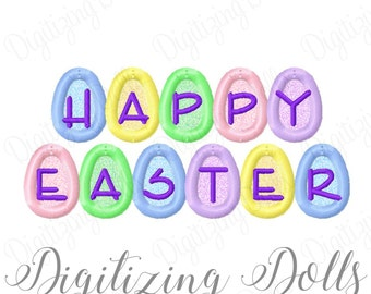 Happy Easter Egg Applique Machine Embroidery Design 4x4 5x7 INSTANT DOWNLOAD
