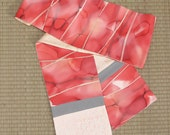 """Coral and rose """"watercolor"""" abstract, reversible vintage Japanese kimono silk scarf"""
