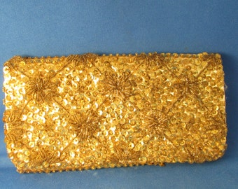 Gold Beaded Clutch Purse