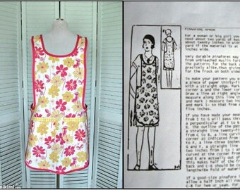 Pinafore Apron-Flapper style-Farmhouse kitchen-Pink Yellow Floral Springtime smock-Med-Large
