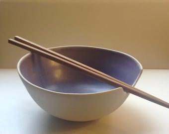 raw porcelain and purple handmade ramen bowl