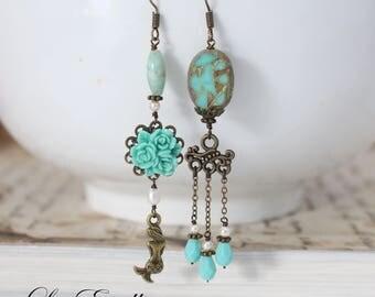 Teal Asymmetrical Earrings Teal flower Earrings Turquoise mismatched earrings Floral Mermaid Earrings Ocean earrings - Mermaid Lagoon