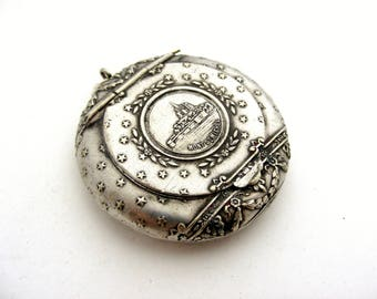 French antique silver plated compact or pill box locket Mont St Michel