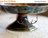30% OFF CHRISTMAS SALE Antler / branch / twig woodland bib necklace, bronze tone, twig jewelry, whimsical small statement necklace, Deer Me