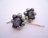 Vintage earrings hair grips - Seafoam green mauve purple blue robins egg beaded cluster unique girl embellish decorative hair accessories