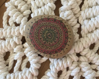 Spirit Stone Mandala Painted Stone Natural Rock Paperweight j