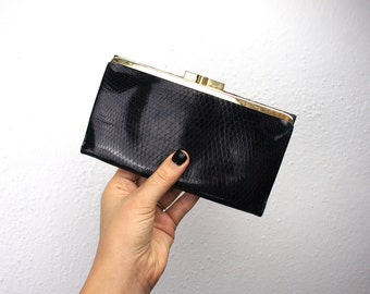 Vintage Black Leather Christian Dior Wallet with Gold Plated Kiss Lock and Snap Closure, Six Card Pockets, Medium Long Leather Wallet 130009