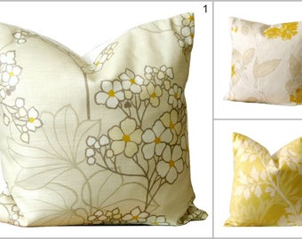 Designer Pillow Cover, Yellow Pillow Cover, Cushion Cover, Throw Pillows, Accent Pillow Cover, Toss Pillow Covers - Floral Collection