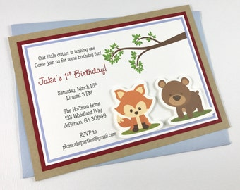 Woodland Birthday Party Invitation | Fox and Bear | Baby Shower