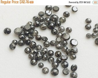 ON SALE 55% Salt And Pepper Rose Cut Diamond, Black And Grey Nas Diamonds, Natural Round Rose Cut Diamond, 2-4mm, 0.5 CTW, 3 Pcs - Ds198