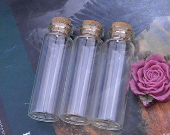 10 Small glass bottles with corks, Glass bottles, Small bottles, Bottle, Mini glass bottles, Vials, tiny bottle, small glass jars 22x70mm
