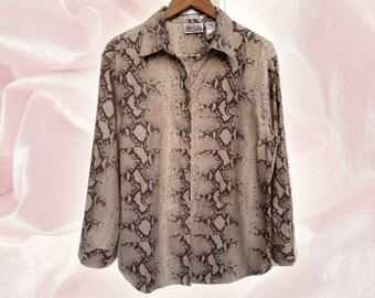 90s Bill Blass Snake Print Unisex Big Shirt Lightweight Jacket Layering Piece Size Large
