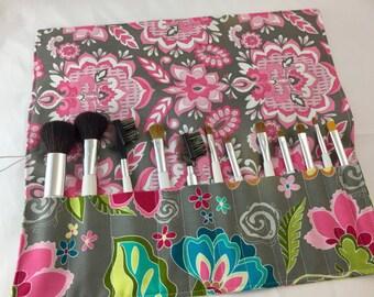 Grey Makeup Brush Roll - Pink Makeup Brush Organizer - MakeUp Brush Holder - Makeup Brush Case Riley Blake Fantine Main Grey