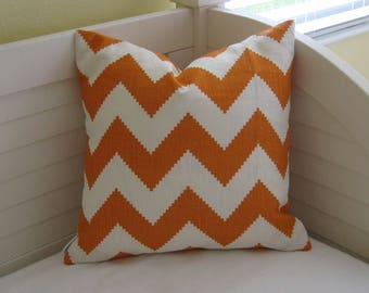 Kravet Limitless in Persimmon Orange and White Chevron on Both Sides Designer Pillow Cover - Square, Lumbar and Euro Pillow Cover