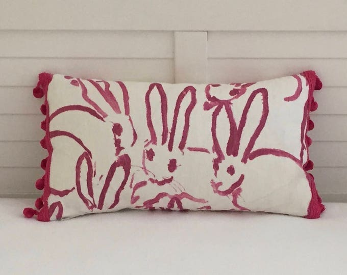 Groundworks Bunny Hutch in Pink Designer Lumbar Pillow Cover with Hot Pink Pom Pom Trim