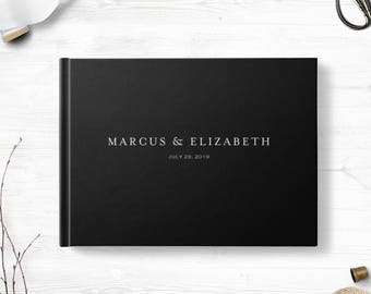 Black wedding guestbook, Landscape or Portrait, Wedding guest book, Various colors