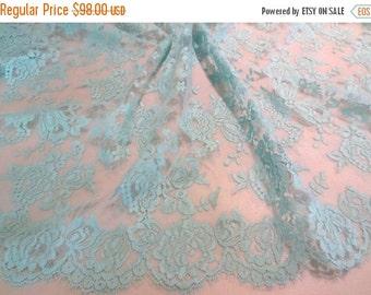 ON SALE Elegant Aqua Blue Floral Design French Chantilly Lace Fabric--One Yard
