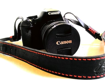 Black English Bridle vegetable leather camera strap, Red hand stitched