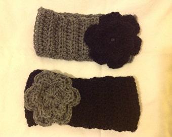 Black headband with grey flower grey headband with black flower