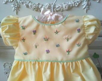 Yellow Hand Embroidered Baby Dress Size 6 to 12 mo. Old Fashioned Floral Bouquet Baby Dress and Bloomers, Vintage Inspired