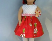 Red and White Grinch Christmas Doll Dess- Handmade To Fit American Girl Doll and Other 18 Inch Dolls