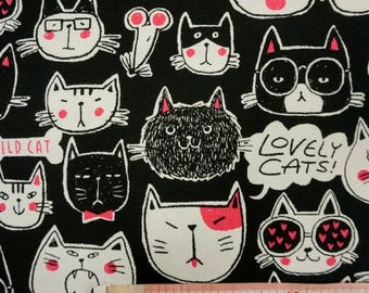 "Wonderful cats face - half yard - cotton linen - 3 colors ,anilmal,kawaii,handmade, Check out with code ""5YEAR"" to save 20% off"