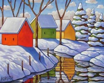 "Art Print Winter Snow Giclee by Cathy Horvath 5""x7"" Folk Art Cabins River Stream Reflections Landscape, Archival Christmas Tree Artwork"