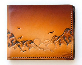 Leather wallet /Sea Mist Morning