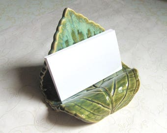 Turquoise Green Pottery Leaf Business Card Holder
