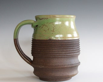Pottery Mug, 17 oz, unique coffee mug, handmade ceramic cup, handthrown mug, stoneware mug, wheel thrown pottery mug, ceramics
