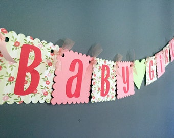Baby Shower Banner - Rustic Shabby Chic Girl Baby Shower - Baby Girl - Green Mint Pink