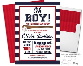 BASEBALL Baby Shower Invitation, Baby Shower Invitation Boy, Baseball Party Invite, Baseball Invitations, Baby Shower Invites, Baby Boy