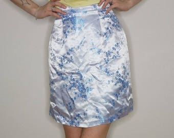 90s Light blue asian brocade skirt size xs