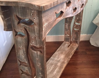 Wood School of Fish Sofa Table Hall Side Console Table Driftwood Colouring Art Furniture by CastawaysHall
