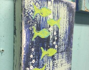 Original Painting Seascape ONE School of Fish Art Block Beach House Coastal Decor by CastawaysHall