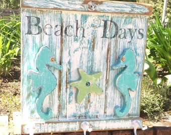 Beach Days Hook Rack Coat Towel Rack Beach House Sign With Seahorses and Starfish Weathered Wood Sign by CastawaysHall