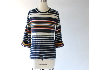 1970s Striped Sweater // 70s Vintage Fitted Pullover Sweater with Three Quarter Length Sleeves - Small