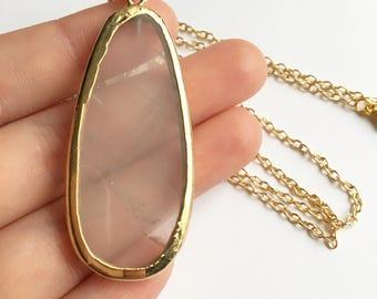 Gold Quartz Natural Stone Necklace