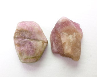 Pink Tourmaline Rough Top Cab.  Watermelon Tourmaline Cabochon.  Rough Top, Flat Back. Can BE dRiLLeD.  2 Pc  20x16 mm +/-  31 cts TM2273